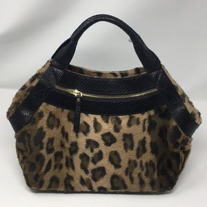 Kate Spade faux fur leopard print purse